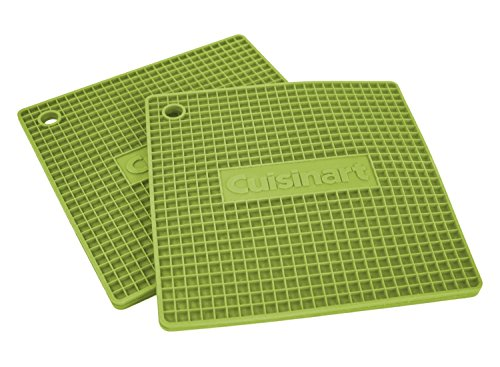 """- Cuisinart Multipurpose 7x7"""" Square Flexible Silicone Kitchen Tool, Trivet/Pot Holder, Spoon Rest, Jar Opener, Coaster, Heat Resistant Pad (up to 500 degrees F) Lime 2pk"""