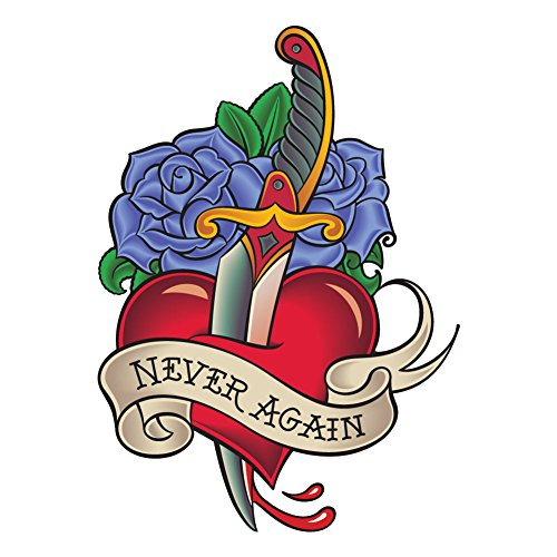 (Never Again Knife Through Heart With Blue Roses, Traditional Tattoo Style - 5 Inch Full Color Vinyl Decal for Indoor or Outdoor use, Cars, Laptops, Décor, Windows, and more)