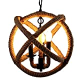 Retro Industrial Hemp Rope Globe Pendant Light Fixture 13.8 inch 3-Light Rustic Country Style Ceiling Chandelier for Kitchen Island, Foyer, Hallway