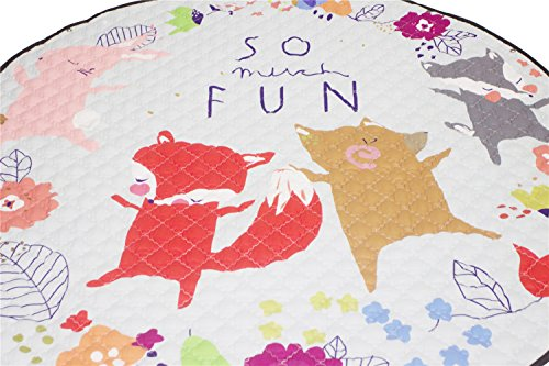 INCX Kids Play Mat/Rugs and Toy Organizer Storage Cotton 58x58 Inch Foxs by INCX (Image #2)