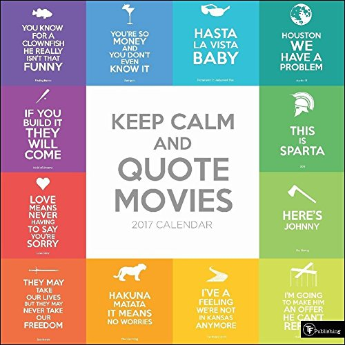 TF Publishing 171019 2017 Wall Calendar 2017, Keep Calm and Quote Movies