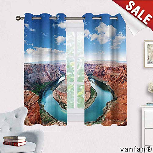 Big datastore Room Decorations Collection Curtain Wand,Horse Shoe Bend North Rim Grand Canyon Page Arizona USA Famous Tourist Attractions Curtains Thermal Insulated,Sandy Brown W72 x L63 -
