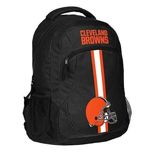 1pc Large NFL Browns Backpack, Polyester, Stripe Logo Football Themed Strap Back Sports Pattern, CLE Merchandise Athletic American Team Spirit Fan School Bag Orange Black White by Unknown