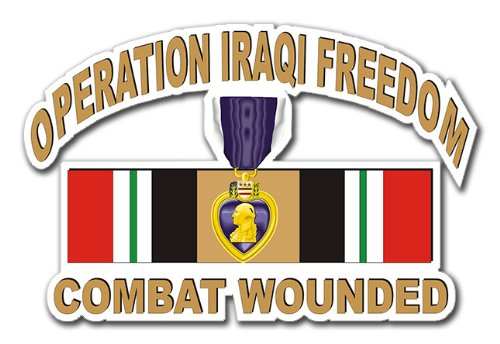 Military Vet Shop Magnet US Army Operation Iraqi Freedom (OIF) Purple Heart Combat Wounded with Ribbon Vinyl Magnet Car Fridge Locker Metal Decal 3.8
