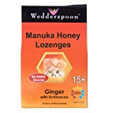 Wedderspoon Organic Manuka Honey  Lozenges, Ginger  with Echinacea, 4-Ounce Pouch (Pack of 4)