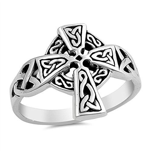 - Princess Kylie Oxidized 925 Sterling Silver Celtic Cross Ring Size 10