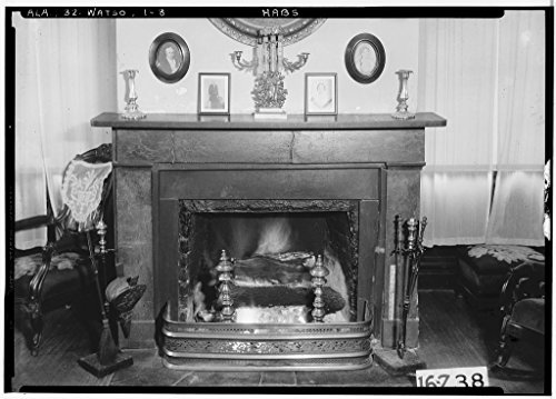 8 x 12 Photo 8. Historic American Buildings Survey Alex Bush, Photographer, December 30, 1934. Interior-Fireplace. W. Wall Parlor - Thornhill Plantation, County Road 19, Forkland, GRE 1864 64a by Vintography