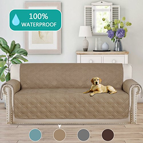 "100% Waterproof Sofa Slipcovers Super Soft Furniture Protector Features to Prevent Stains/Protect from Pets, Spills, Wear and Tear(Oversize Sofa,86""x132"") Taupe"