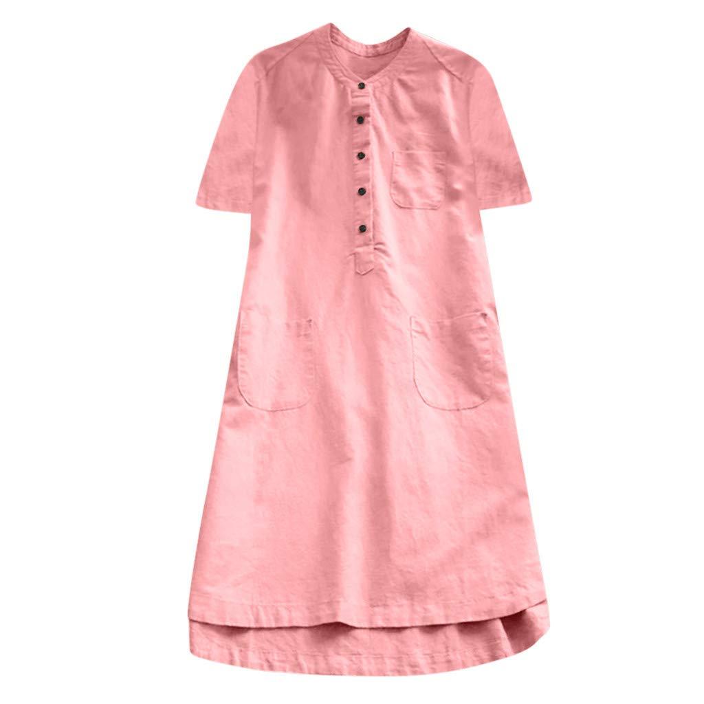 Damen Kleider, Casual Leinen Lang Kleid Frauen Sommer Langarm Kurzarm Strandkleider Lose Tunika T-Shirt Partykleider Blusenkleid Sommerkleid Bluelucon