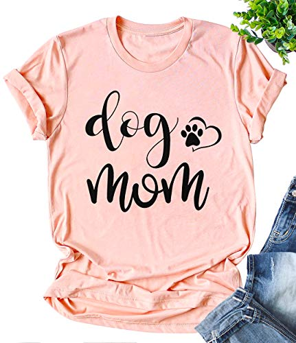 JINTING Funny Cute Dog Mom Tee Shirts for Women with Sayings Short Sleeve Letter Print Heart Graphic Mom Tee Shirts Pink