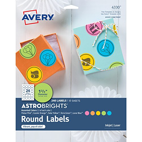 Avery 4330 Astrobrights Color Easy Peel Round Labels