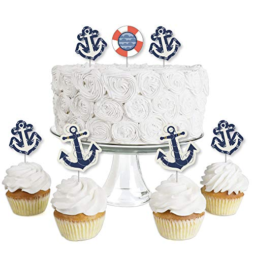 Ahoy - Nautical - Dessert Cupcake Toppers - Baby Shower or Birthday Party Clear Treat Picks - Set of 24 by Big Dot of Happiness