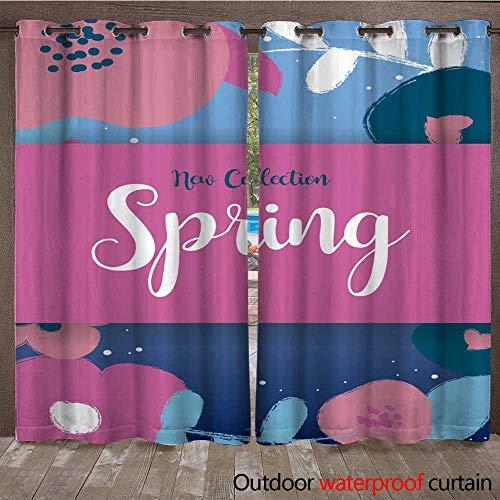 RenteriaDecor Outdoor Ultraviolet Protective Curtains Fundo Primavera Moderno com Flores em Estilo pintura com pincel W72 x L84