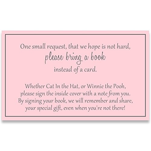 Baby Shower, Book Request Inserts, Basic, Pink, Girls, It's A Girl, Sprinkle, Set of 24 Printed Bring A Book Inserts, Basic Pink