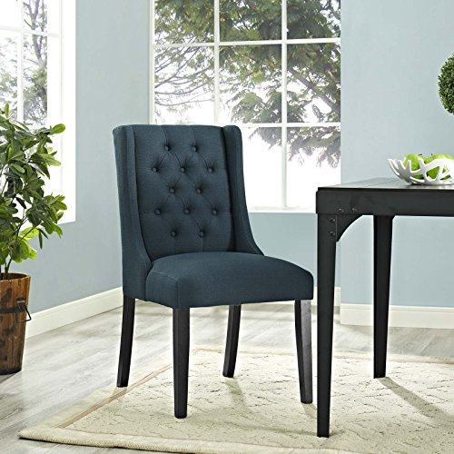 Modway Baronet Modern Button-Tufted Upholstered Fabric Parsons Dining Chair With Wood Legs In Azure