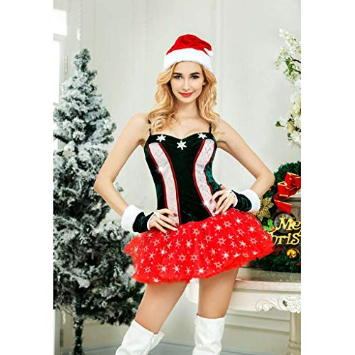 de Guantes Navidad Decoración negro Disfraces Ropa Noche Vestido de Baoblaze Traje Sombrero rojo Tangas XpFwwq