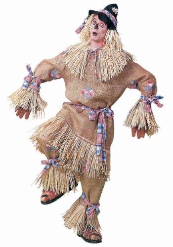 Men's Deluxe Scarecrow Costume, Beige/Plaid, One Size - Scarecrow Mens Costumes