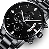 Mens Stainless Steel Watches Men Chronograph Waterproof Sport Date Quartz Wristwatch Classic Watch Black Color