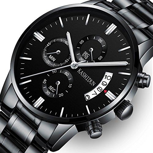 Mens Stainless Steel Watches Men Chronograph Waterproof Sport Date Quartz Wristwatch Classic Watch Black Color by KASHIDUN (Image #7)