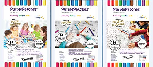 PurplePatches Coloring Fun Activity Paper Tablecover/Tablecloth - Festive Pack - Big Savings - Assortment of 3 Fun Covers/Designs - Perfect for Thanksgiving, Christmas, Hanukkah and Parties ()