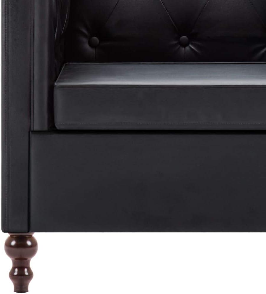 vidaXL Canap/é Chesterfield 3 Places Rev/êtement Similicuir Noir Meuble de Salon