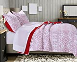 Greenland Home Holly Quilt Set with Cross Stitching, White (3 Piece), King