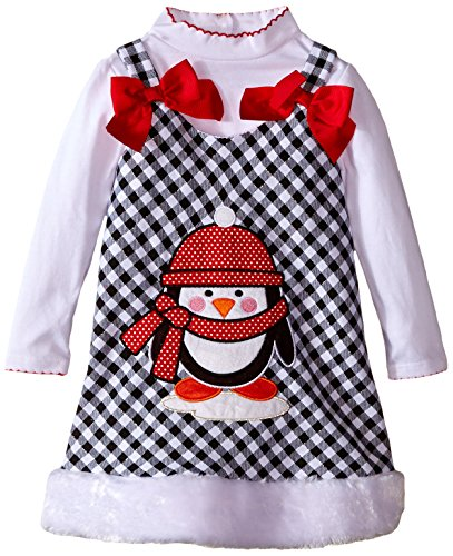Youngland Little Girls' 2 Piece Jumper Set Plaid Penguin Applique Jumper and Long Sleeve Knit Tee, White/Black, 2 (Girls 2 Jumpers Plaid)