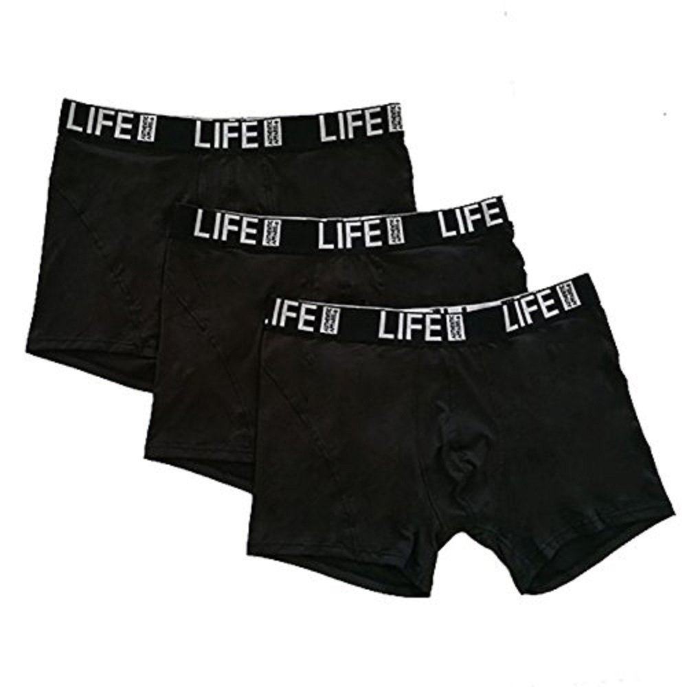 Life Authentic Apparel 3 Pack Performance Black Boxer Briefs with Moisture Wicking and Climate Control