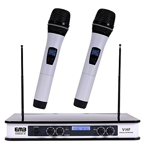 EMB - EBM60E White VHF Dual Wireless Handheld Microphone System with Echo Feature. Great for Karaoke, DJ, PA, Presentation, Live Performances and Family Party