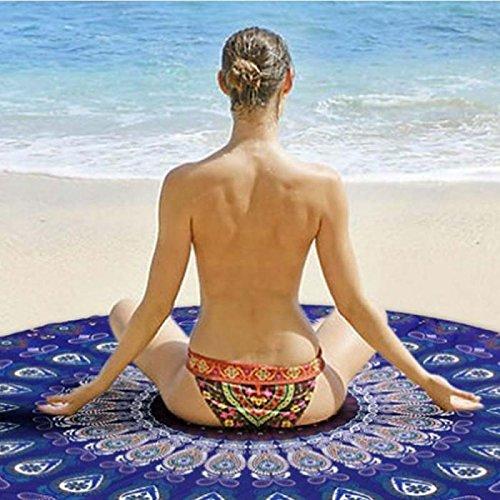Zytree New 150cm Round Beach Towel Peacock Mandala Print Summer Beach Swim Tassel Towels [ Blue ]