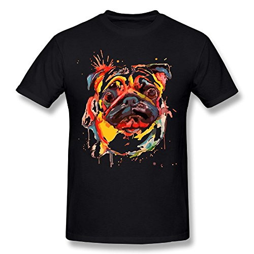Price comparison product image Oil Painting Adorable Pet Dogs Pug Man Casual T Shirt Comfy Short Sleeve Top Tee Round Neck 6XL