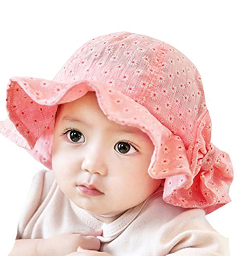 Sumolux Toddlers Baby Girls Sun Hat Floral Bowknot Mesh Large Brimmed Cotton Sun Protection Floppy Hat Summer