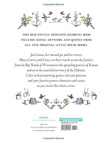 Little House Coloring Book Merchandise Laura Ingalls Wilder Garth Williams 9780062572318 Amazon Books