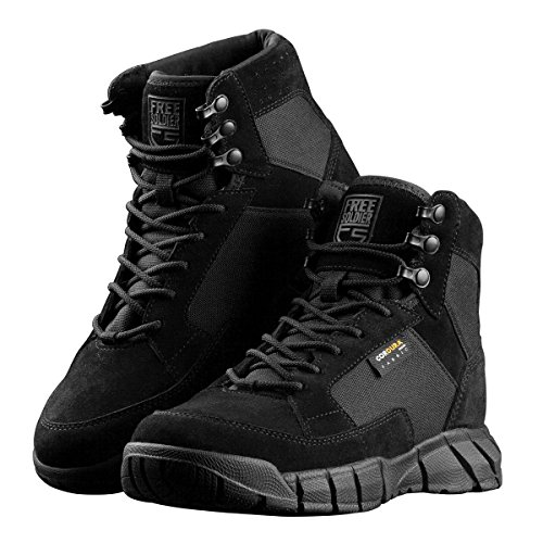 FREE SOLDIER Men's 6 inch Lightweight Boots Tactical Military Urban Composite Toe Desert Tan Boot(Black 10 D(M) US) by FREE SOLDIER (Image #1)
