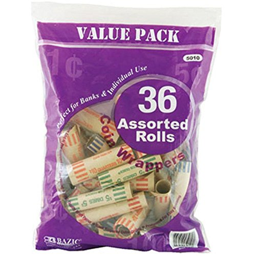 BAZIC Assorted Size Coin Wrappers, 36 Per Pack