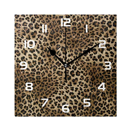 Tigers Art Glass Clock - TropicalLife Wall Clock Animal Leopard Tiger Print Decorative Square Clock Non Ticking Art Decor for Bedroom Living Room Kitchen Bathroom Office School
