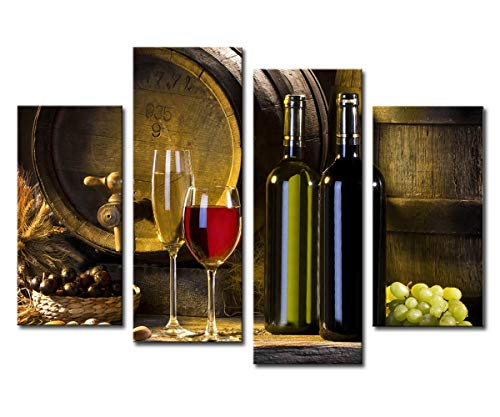 (Noah Art-Modern Still Life Art Print, Red Wine Barrel Grape and Wine Bottle Paintings Photo to Canvas Prints Wall Art, 4 Panel Stretched Still Life Canvas Art for Dining Room Wall Decor)