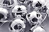 Charmed large size Christmas star cutout jingle sleigh bell ornament 3'' pack of 6 (Silver)