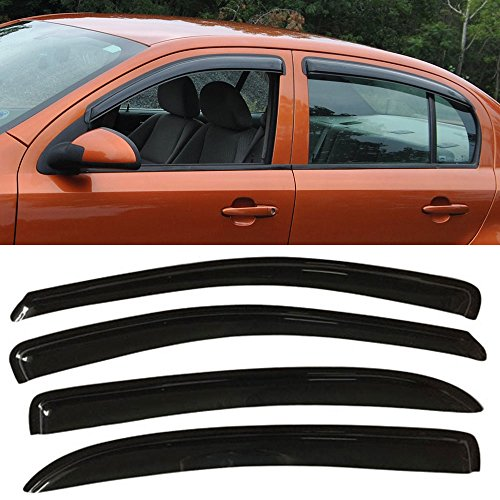 Window Visor fits 2005-2010 Chevy Cobalt | Slim Style Acrylic Smoke Tinted & Semi-Transparent 4PCS Sun Rain Shade Guard Wind Vent Air Deflector by IKON MOTORSPORTS | 2006 2007 2008 2009 (Cobalt Door 4 Chevy)