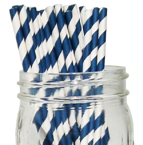 [Just Artifacts - Decorative Paper Straws 100pcs - Striped Pattern - Navy - Click For More Colors! Paper Straws and Décor for Birthdays, Weddings, Baby Showers and Life] (Blue Drinking Hat)