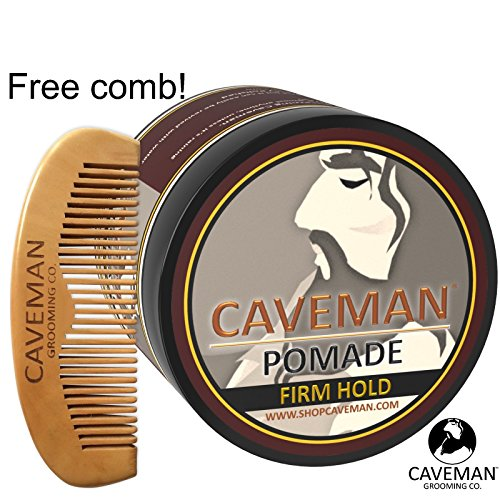 Handcrafted-Caveman-POMADE-FIRME-STRONG-HOLD-Rockabilly-4oz-FREE-Comb