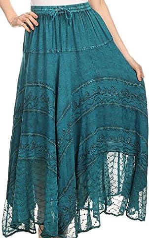 Sakkas 13222 Ivy Maiden Boho Skirt -Turquoise Blue - One Size Plus ()