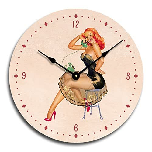 Vintage pinup girl clock, man cave clock, redhead Peter Driben sorry, wrong number