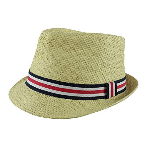 PEAK 2 PEAK Unisex Kids Straw Trilby Fedora Cap Felt Fedora Hat Short Brim Sunhat (Toddler, Navy,White and Red Band)]()