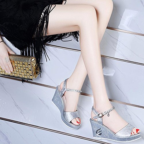 Sandals CJC Women's Open Toe Ankle Strap Wedge Heels (Color : Silver, Size : EU36/UK4) Silver