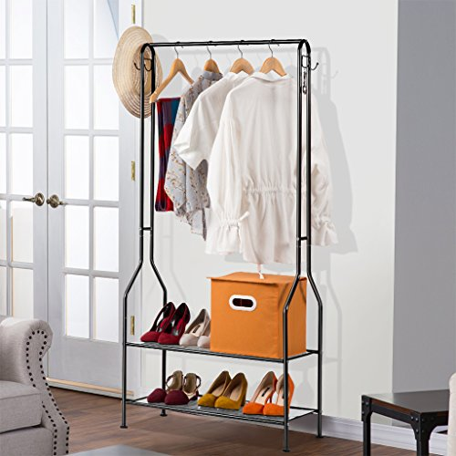 Laundry Rack (LANGRIA Heavy Duty Commercial Grade Clothing Garment Rack, 2-Tier Entryway Metal Coat Rack and Shoe Bench Storage Stand with Single Rod and 4 Hooks for Home Office Bedroom Max Capacity 66.1lbs, Black)