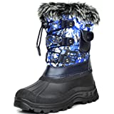 DREAM PAIRS Big Kid Ksnow Blue Multi Isulated Waterproof Snow Boots - 4 M US Big Kid