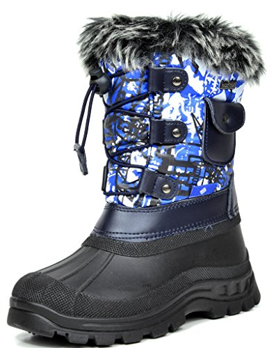 DREAM PAIRS Little Kid Ksnow Blue Multi Isulated Waterproof Snow Boots - 3 M US Little Kid