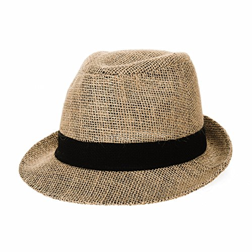 WITHMOONS Linen Fedora Hat Paper Straw Banded Summer Cool DW6711 (Black) ()