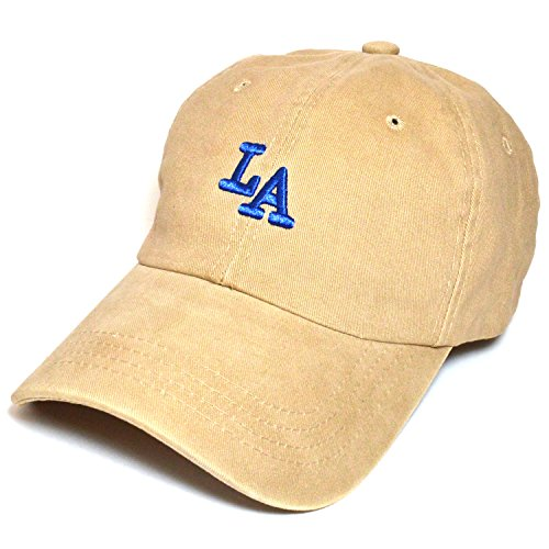 LA Embroidered Baseball Polo Style unconstructed Cap Hat Cotton Men Women #2 (Beige)